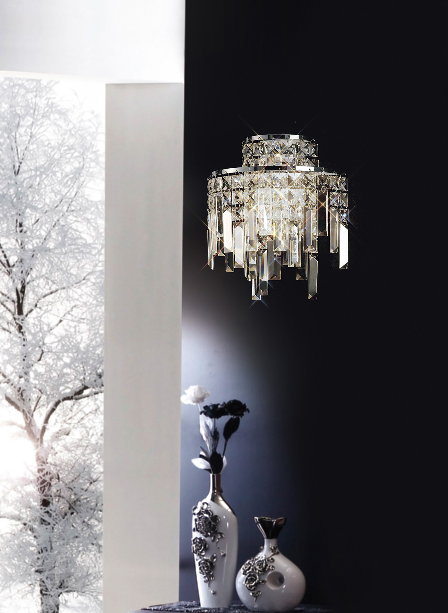 Maddison Crystal Ceiling Lights Diyas Single Crystal Pendants