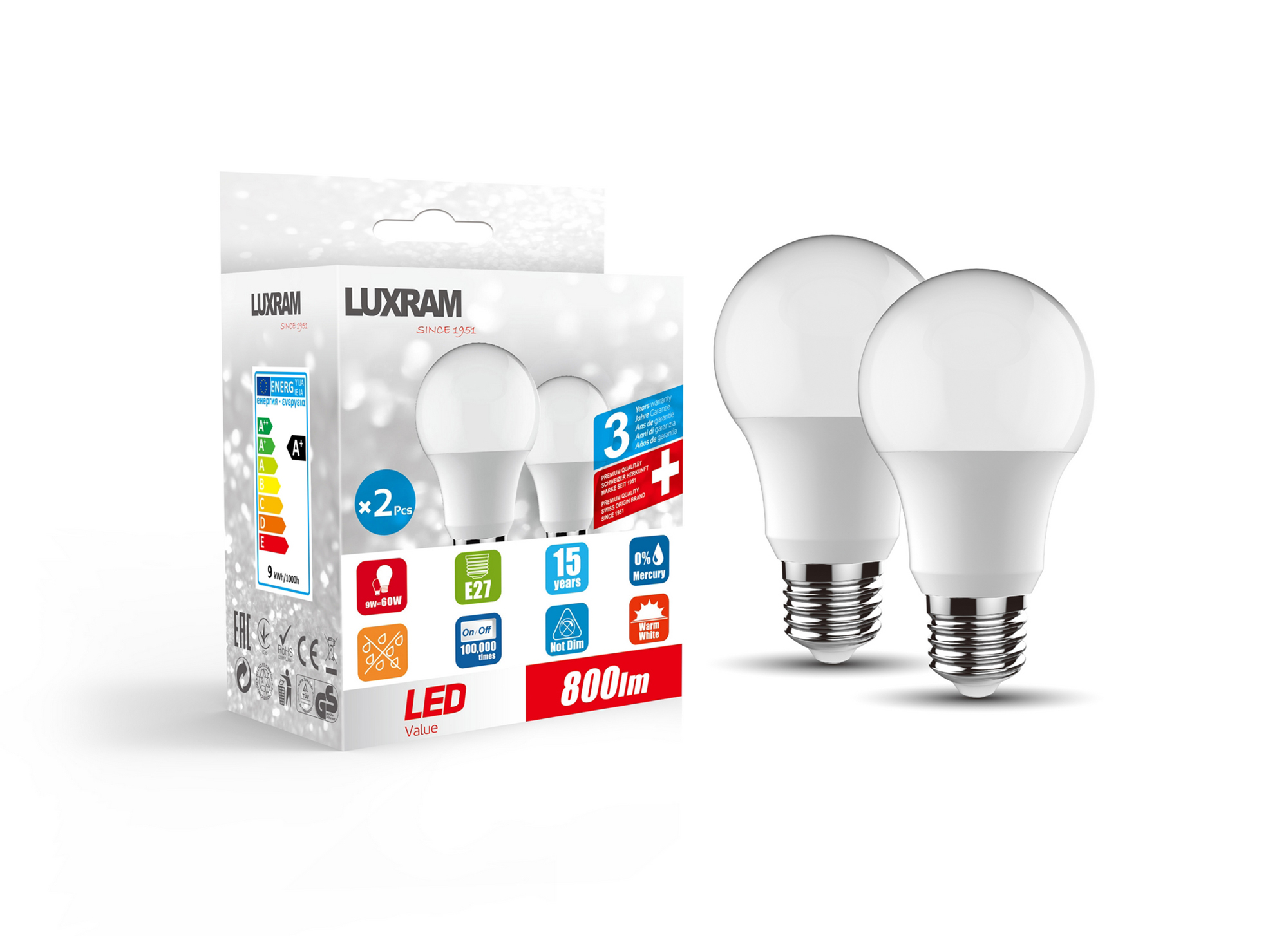 Duo-pack LED Lamps Luxram Spot Lamps