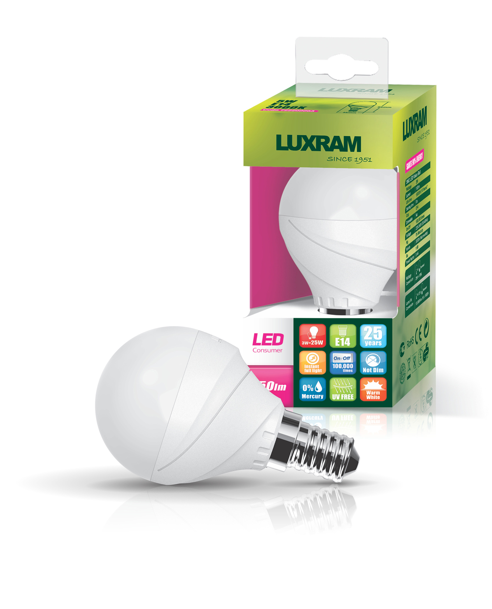 Curvodo LED Lamps Luxram Golf Ball