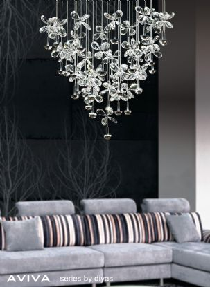 Aviva Crystal Ceiling Lights Diyas Single Crystal Pendants