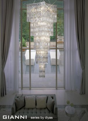 Gianni Crystal Ceiling Lights Diyas Contemporary Chandeliers