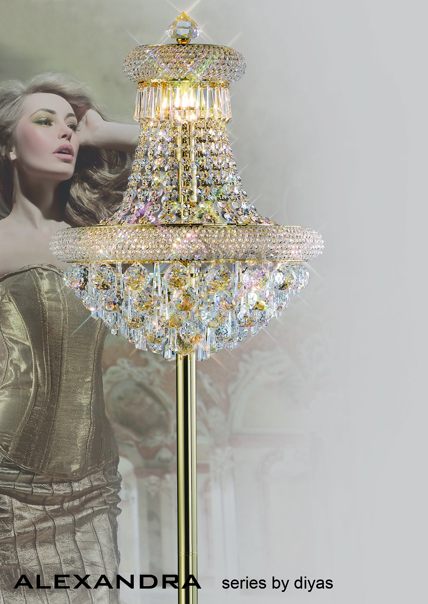 Alexandra Crystal Table Lamps Diyas Traditional Crystal Table Lamps