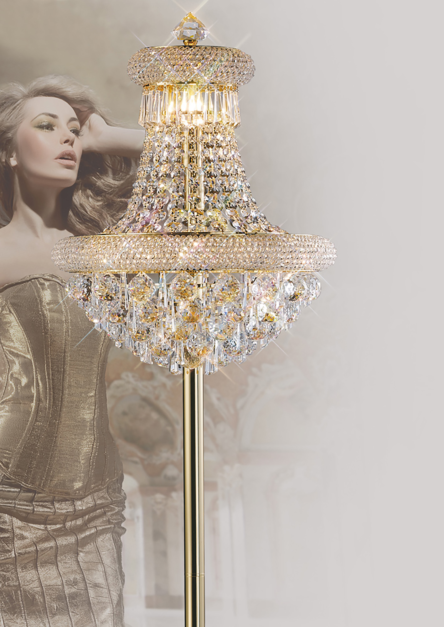 Alexandra Crystal Floor Lamps Diyas Traditional Crystal Floor Lamps
