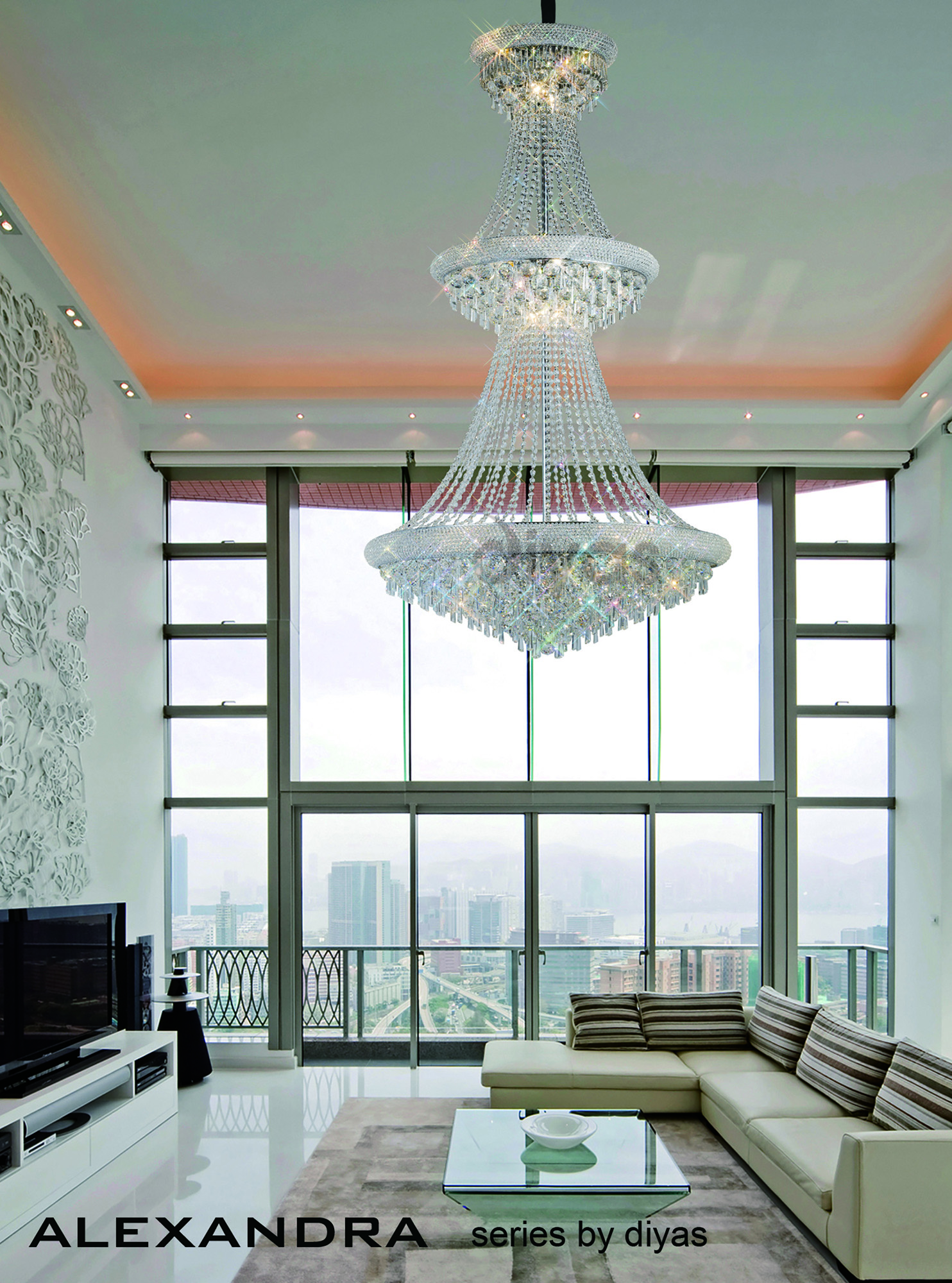 Alexandra Crystal Ceiling Lights Diyas Contemporary Chandeliers