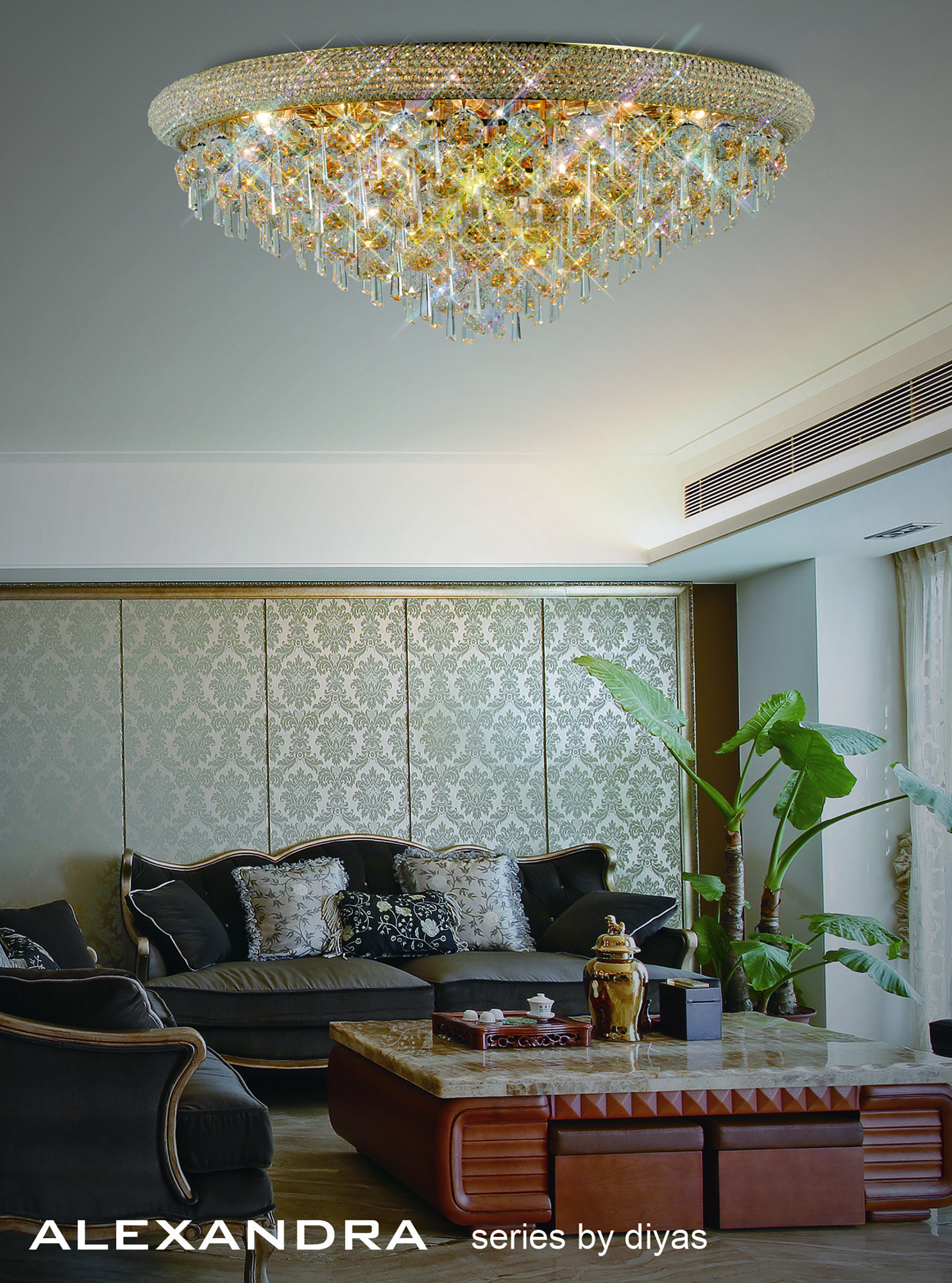 Alexandra Crystal Ceiling Lights Diyas Contemporary Crystal Ceiling Lights