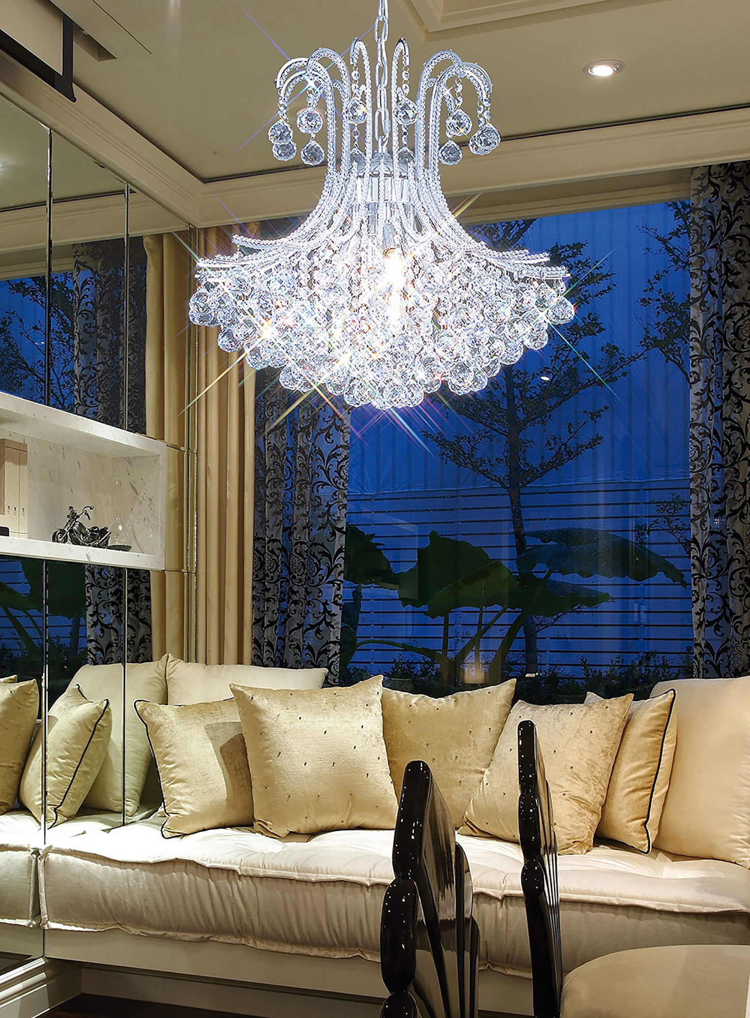 Bask Crystal Ceiling Lights Diyas Contemporary Chandeliers