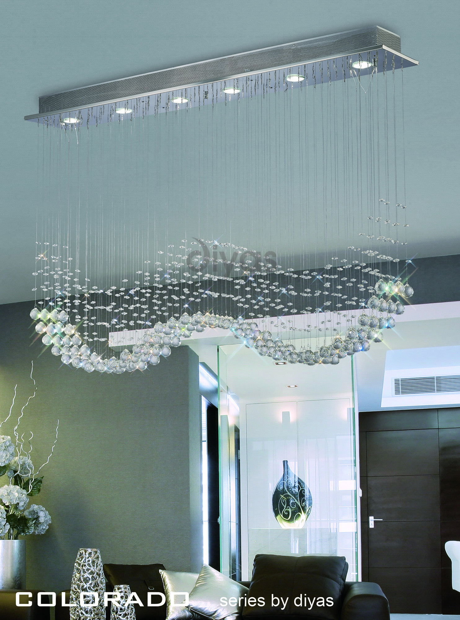Colorado Crystal Ceiling Lights Diyas Multiple Crystal Pendants
