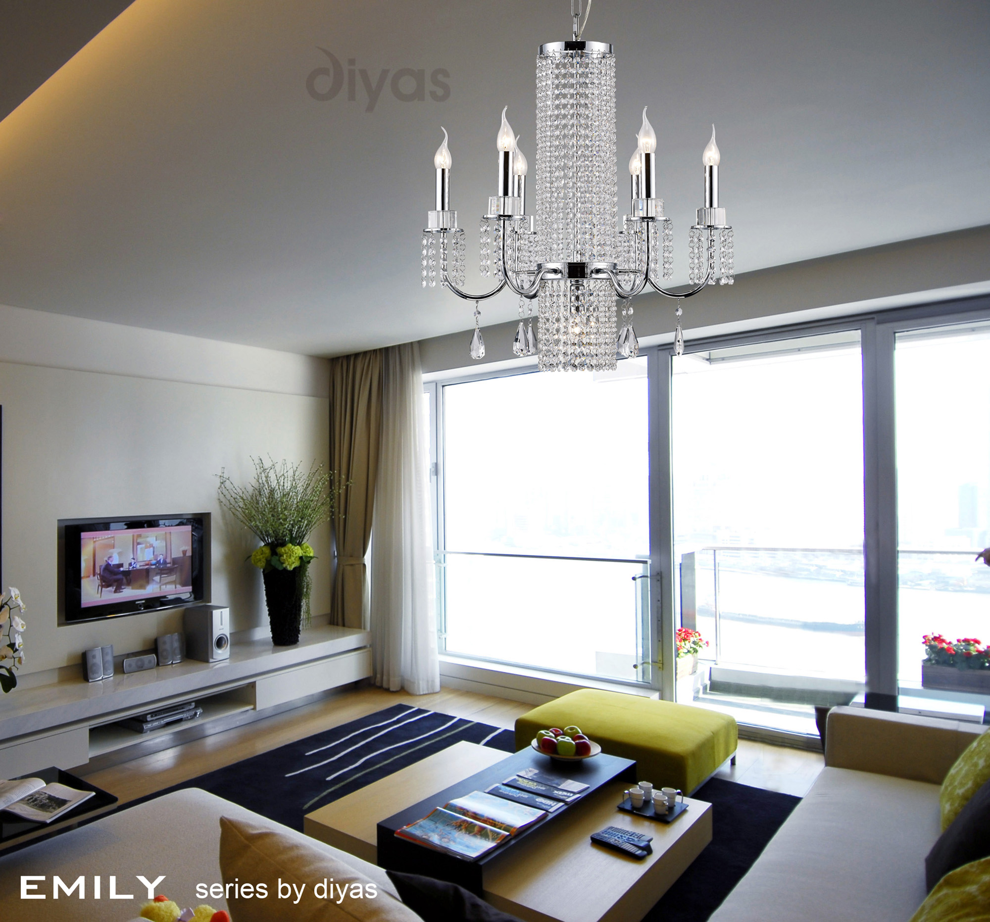 Emily Crystal Ceiling Lights Diyas Modern Chandeliers