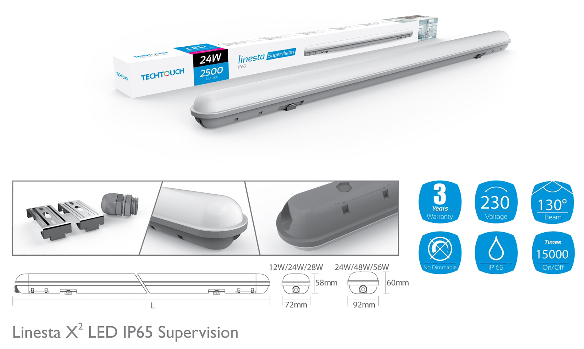 Linesta X2 Supervision External Surface Luminaires Techtouch Unidirectional Fitting