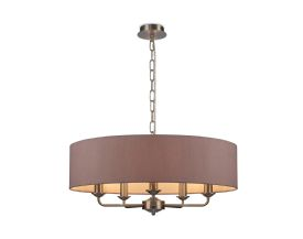 DK0069  Banyan 5 Light Multi Arm Pendant; c/w 2m Chain; E14 Satin Nickel c/w 600mm Dual Faux Silk Shade; Taupe/Halo Gold