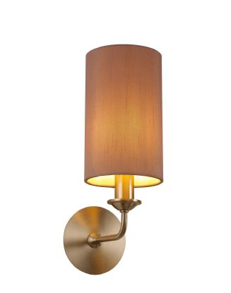 DK0070  Banyan 1 Light Switched Wall Lamp; E14 Satin Nickel c/w 120mm Dual Faux Silk Shade; Taupe/Halo Gold