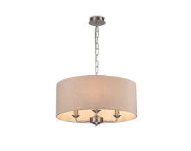 DK0076  Banyan 3 Light Multi Arm Pendant; c/w 2m Chain; E14 Satin Nickel c/w 500mm Dual Faux Silk Shade; Nude Beige/Moonlight