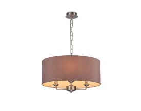 DK0078  Banyan 3 Light Multi Arm Pendant; c/w 2m Chain; E14 Satin Nickel c/w 500mm Dual Faux Silk Shade; Taupe/Halo Gold