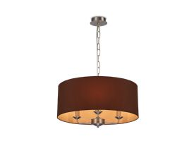DK0077  Banyan 3 Light Multi Arm Pendant; c/w 2m Chain; E14 Satin Nickel c/w 500mm Dual Faux Silk Shade; Raw Cocoa/Grecian Bronze