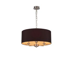 DK0072  Banyan 3 Light Multi Arm Pendant; c/w 2m Chain; E14 Satin Nickel c/w 500mm Dual Faux Silk Shade; Black/Green Olive