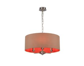 DK0071  Banyan 3 Light Multi Arm Pendant; c/w 2m Chain; E14 Satin Nickel c/w 500mm Dual Faux Silk Shade; Antique Gold/Ruby